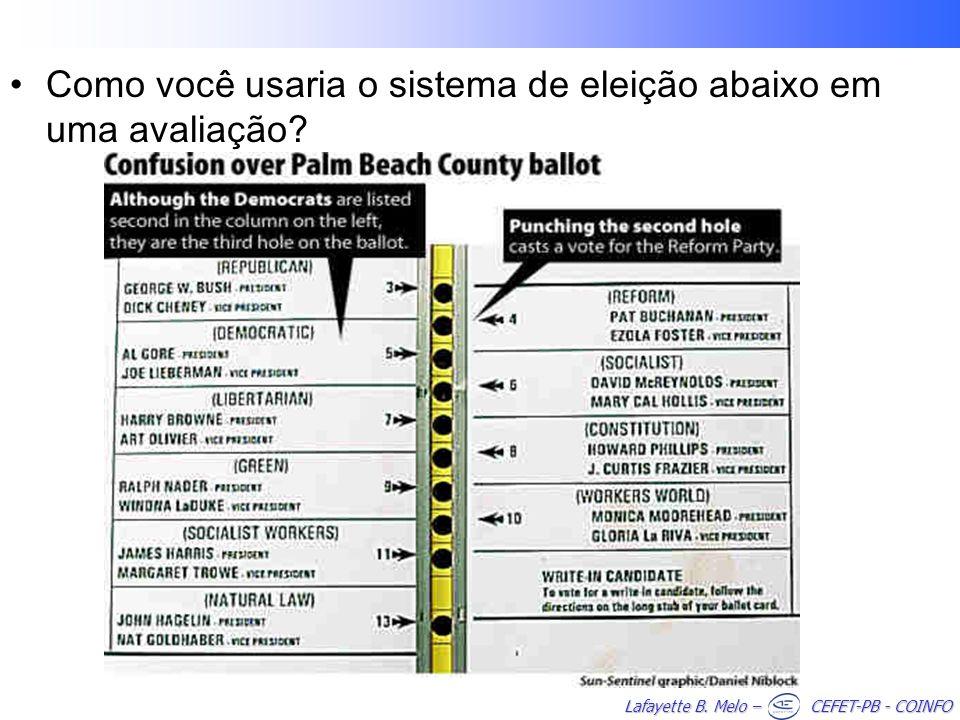 Como você usaria o sistema de eleição abaixo em uma avaliação
