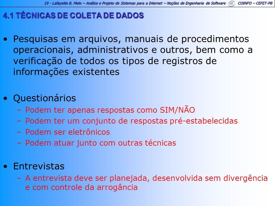 4.1 TÉCNICAS DE COLETA DE DADOS