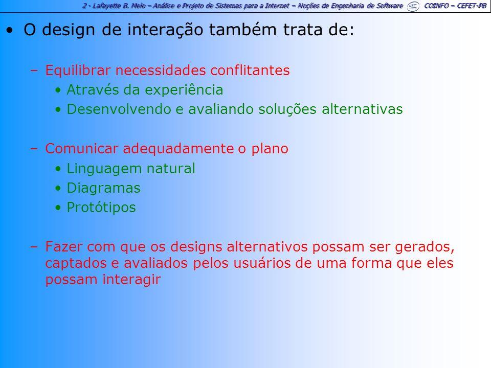O design de interação também trata de: