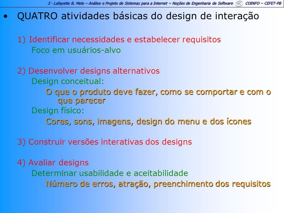 QUATRO atividades básicas do design de interação