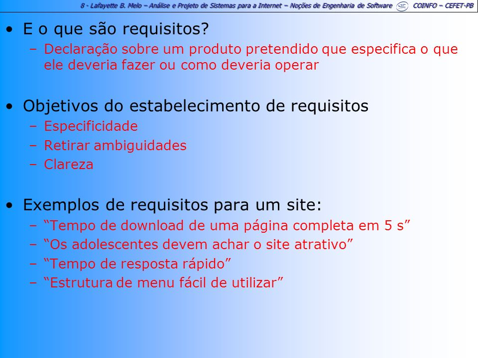 Objetivos do estabelecimento de requisitos