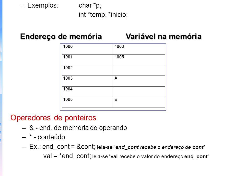 Endereço de memória Variável na memória