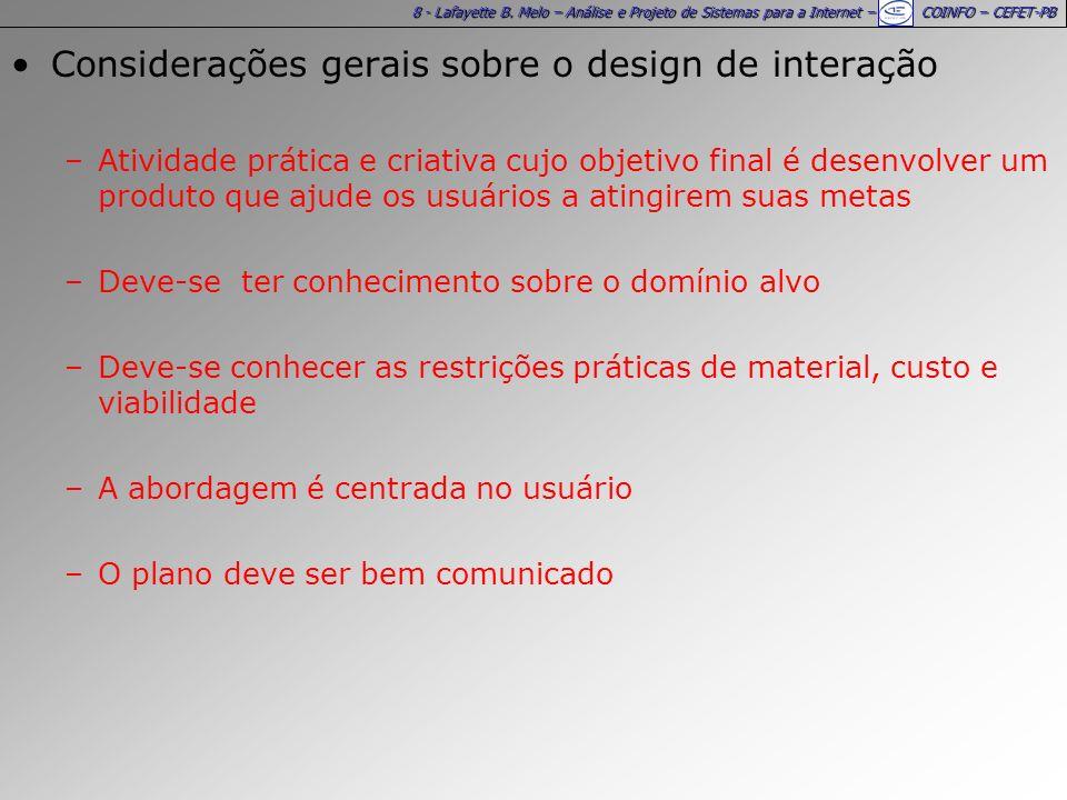Considerações gerais sobre o design de interação
