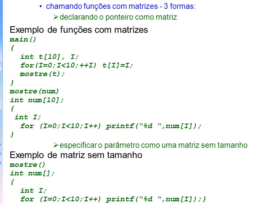 Exemplo de funções com matrizes