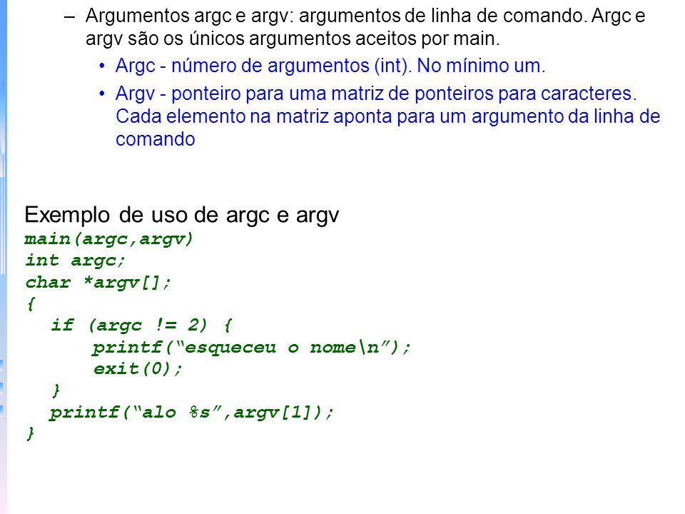 Exemplo de uso de argc e argv