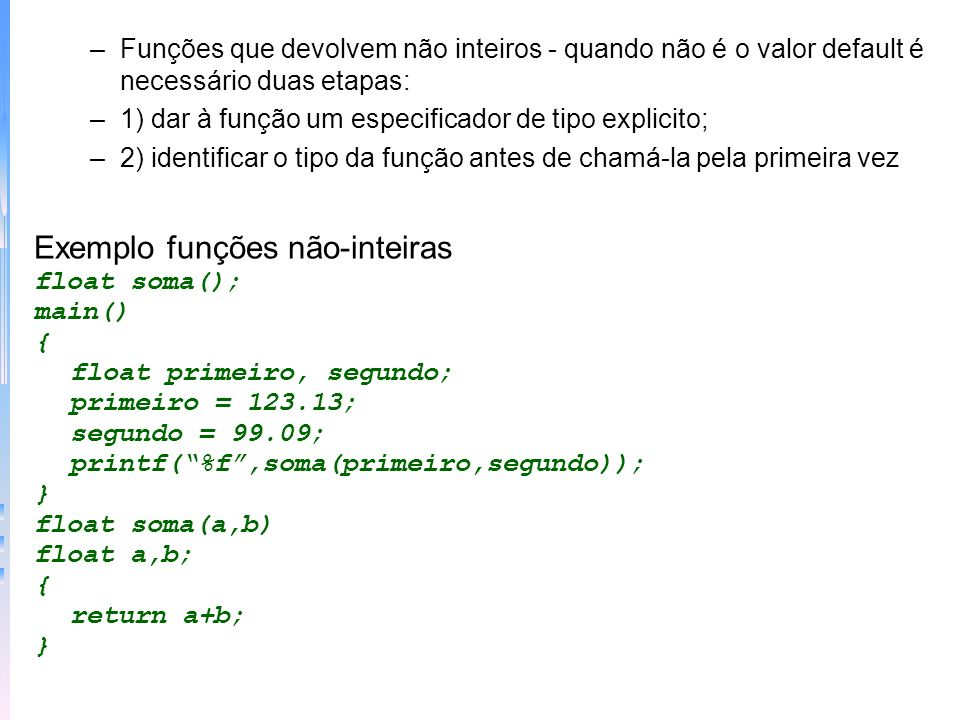Exemplo funções não-inteiras