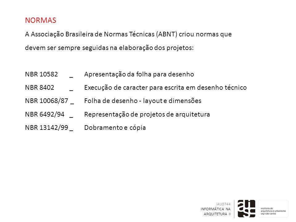 NORMAS A Associação Brasileira de Normas Técnicas (ABNT) criou normas que devem ser sempre seguidas na elaboração dos projetos: NBR 10582 _ Apresentação da folha para desenho NBR 8402 _ Execução de caracter para escrita em desenho técnico NBR 10068/87 _ Folha de desenho - layout e dimensões NBR 6492/94 _ Representação de projetos de arquitetura NBR 13142/99 _ Dobramento e cópia