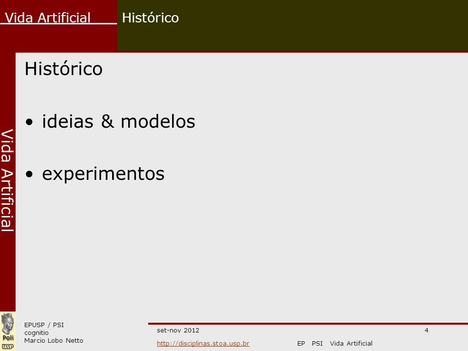Histórico Histórico ideias & modelos experimentos set-nov 2012