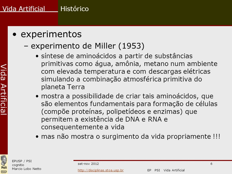 experimentos experimento de Miller (1953) Histórico