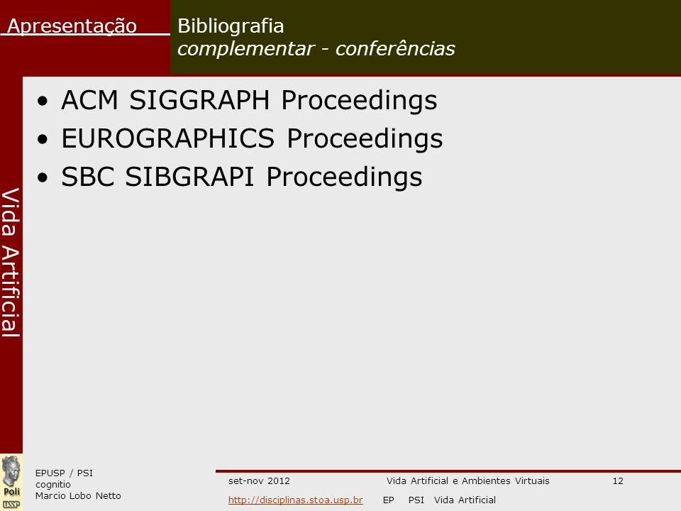 Bibliografia complementar - conferências