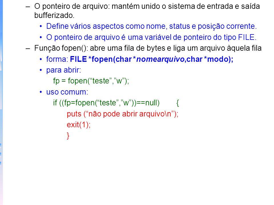 O ponteiro de arquivo: mantém unido o sistema de entrada e saída bufferizado.