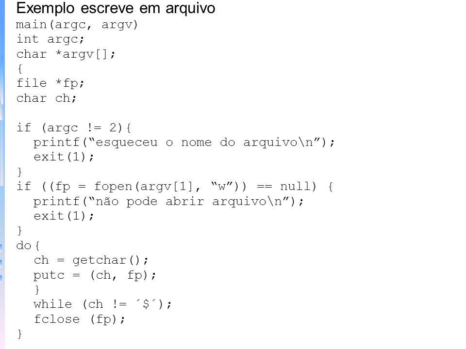 Exemplo escreve em arquivo