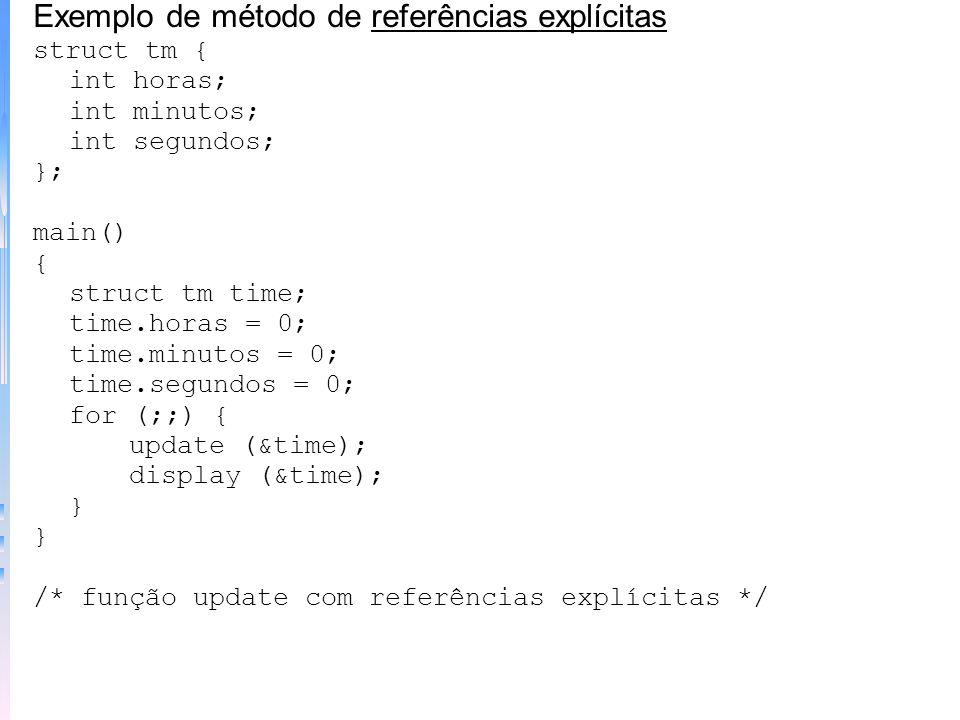 Exemplo de método de referências explícitas