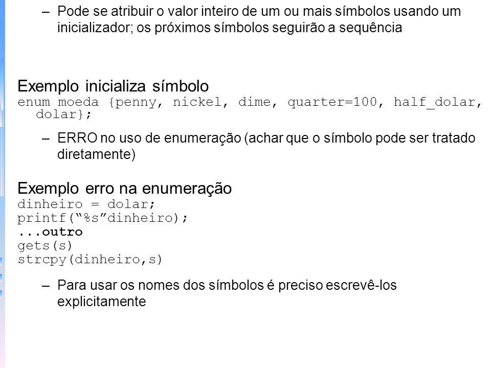 Exemplo inicializa símbolo