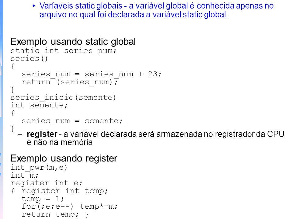 Exemplo usando static global