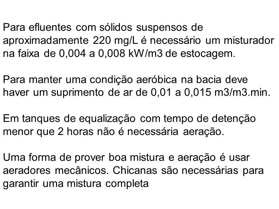 Para efluentes com sólidos suspensos de aproximadamente 220 mg/L é necessário um misturador na faixa de 0,004 a 0,008 kW/m3 de estocagem.