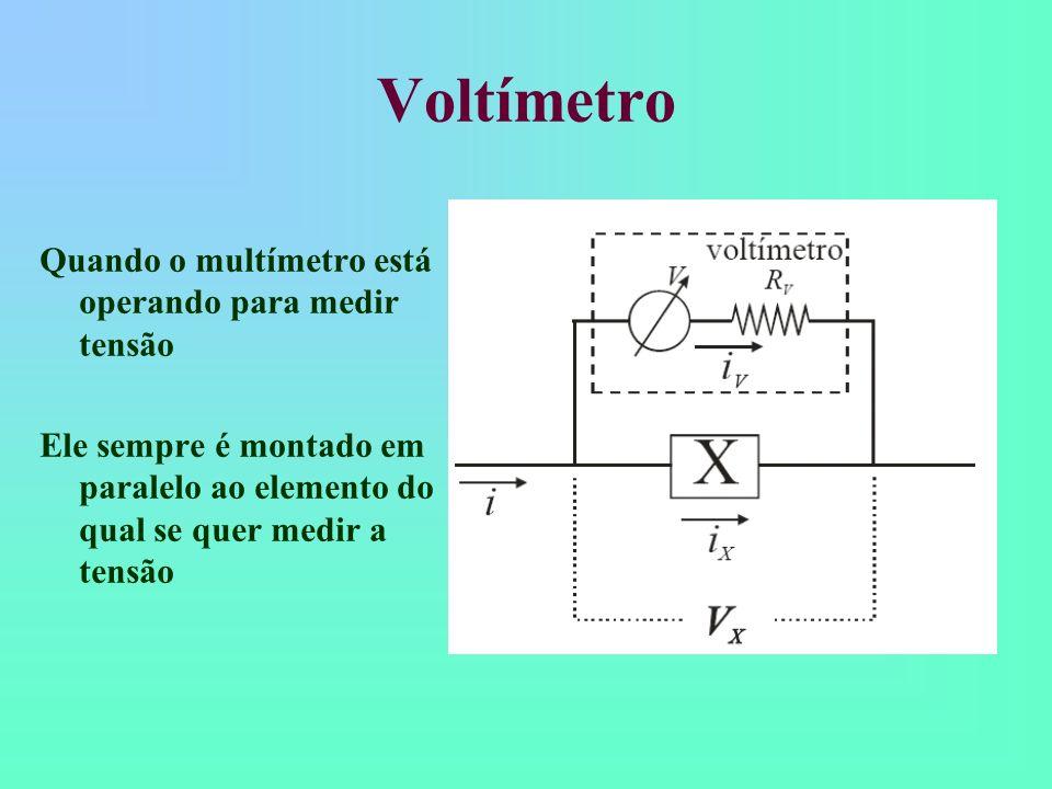 Voltímetro Quando o multímetro está operando para medir tensão