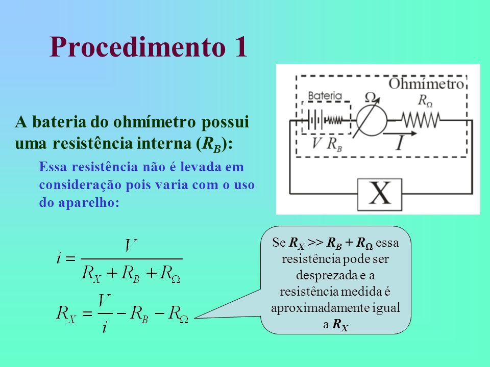 Procedimento 1 A bateria do ohmímetro possui uma resistência interna (RB):