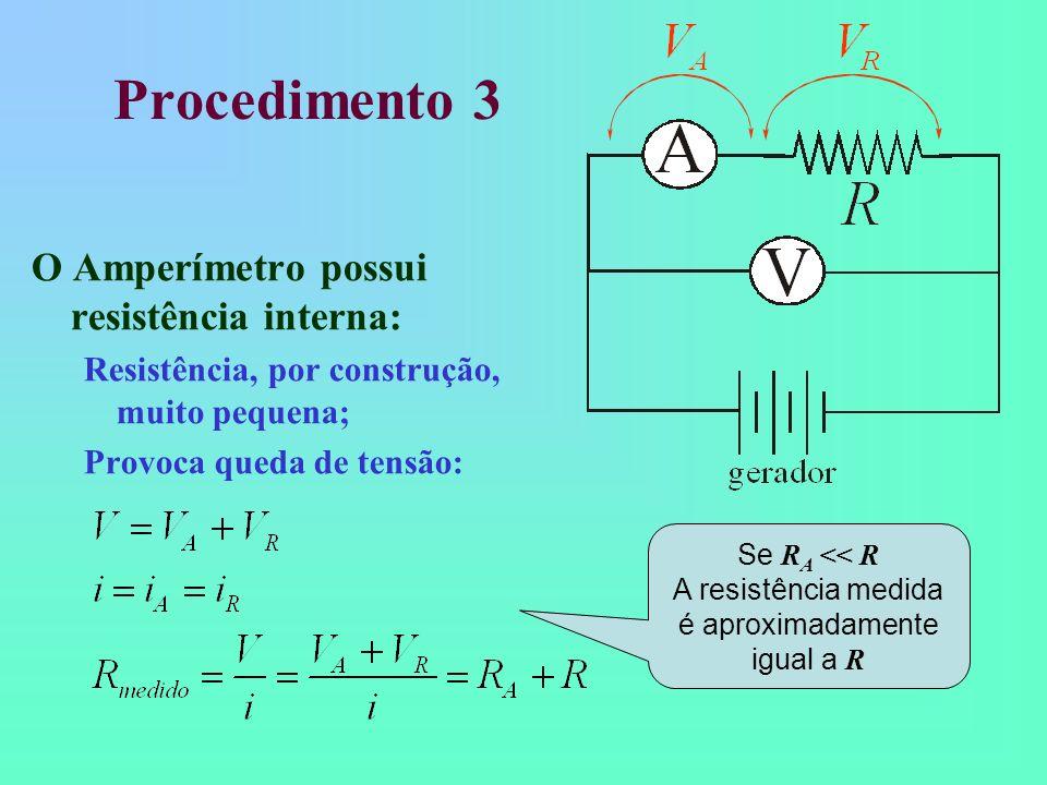A resistência medida é aproximadamente igual a R