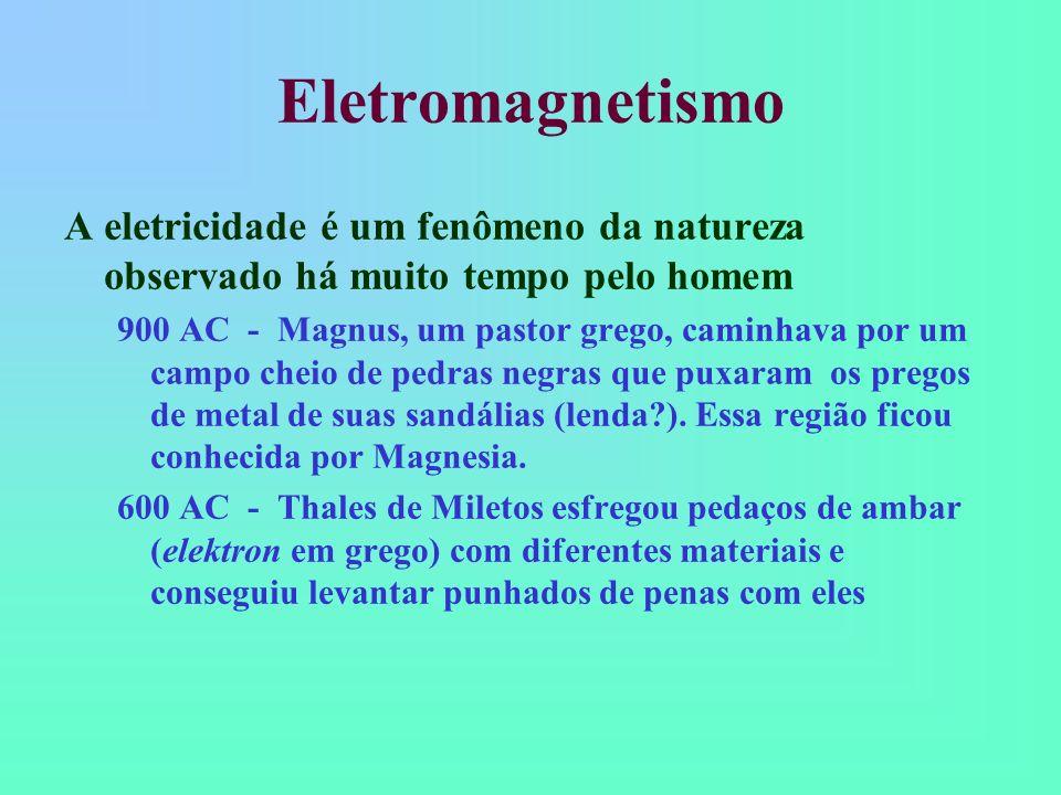 Eletromagnetismo A eletricidade é um fenômeno da natureza observado há muito tempo pelo homem.