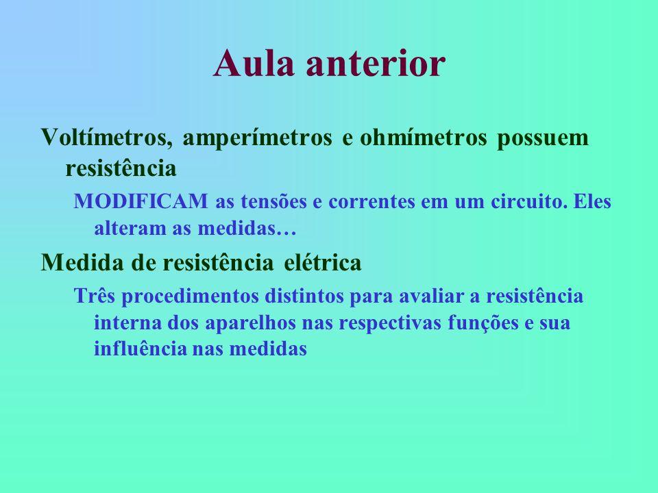 Aula anterior Voltímetros, amperímetros e ohmímetros possuem resistência. MODIFICAM as tensões e correntes em um circuito. Eles alteram as medidas…
