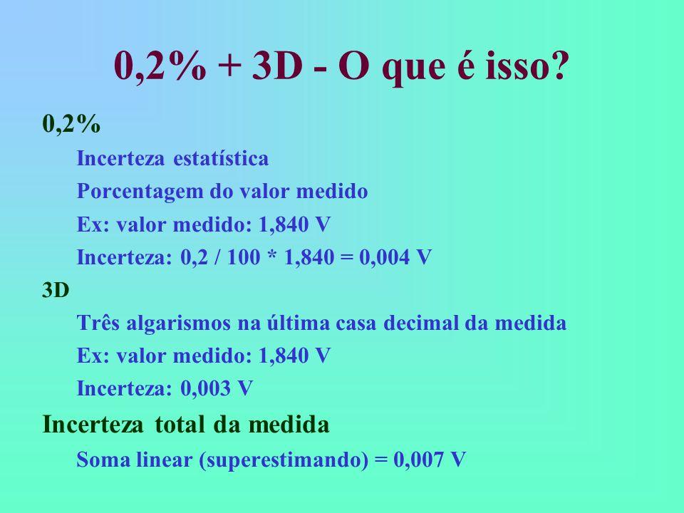 0,2% + 3D - O que é isso 0,2% Incerteza total da medida