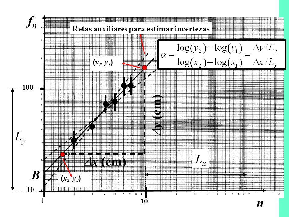 fn y (cm) Ly Lx x (cm) B n Retas auxiliares para estimar incertezas