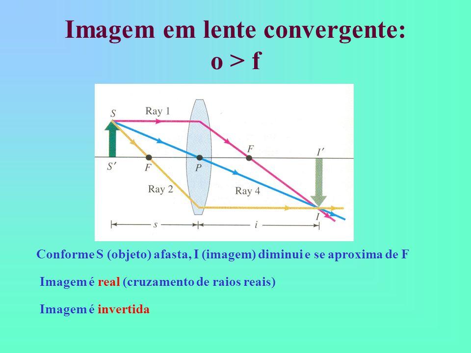 Imagem em lente convergente: o > f