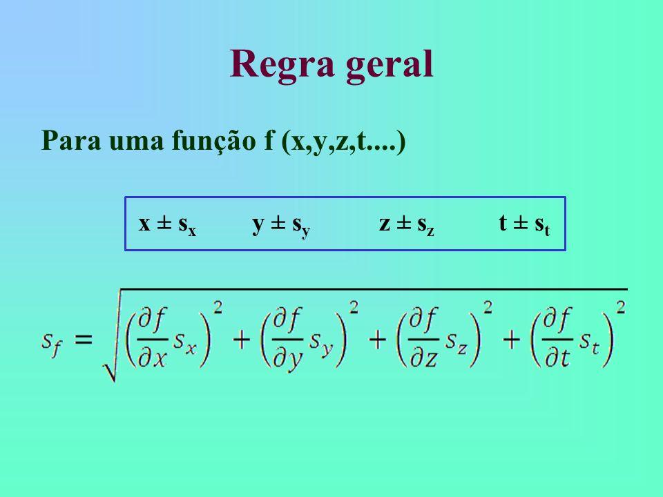 Regra geral Para uma função f (x,y,z,t....)