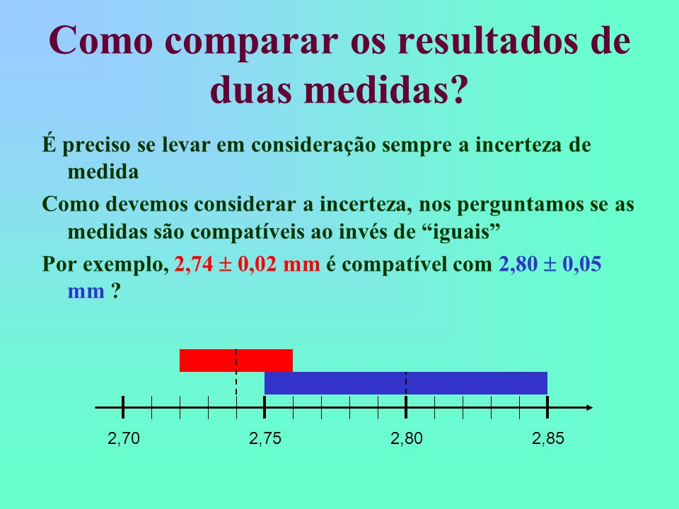 Como comparar os resultados de duas medidas