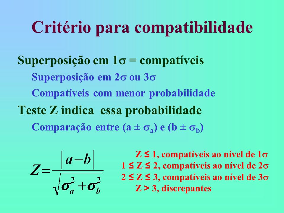 Critério para compatibilidade