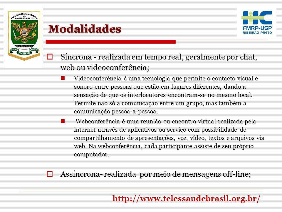Modalidades Síncrona - realizada em tempo real, geralmente por chat, web ou videoconferência;