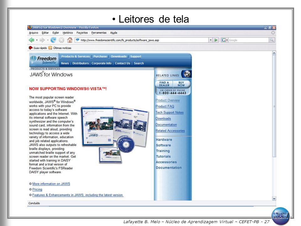 Lafayette B. Melo – Núcleo de Aprendizagem Virtual – CEFET-PB - 27