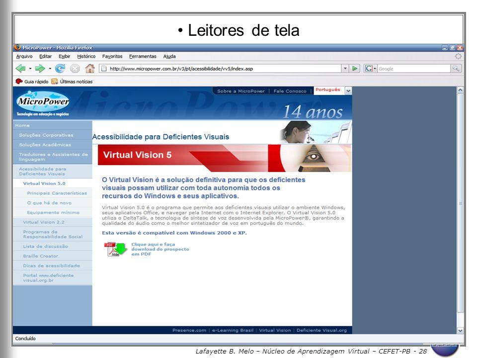 Lafayette B. Melo – Núcleo de Aprendizagem Virtual – CEFET-PB - 28