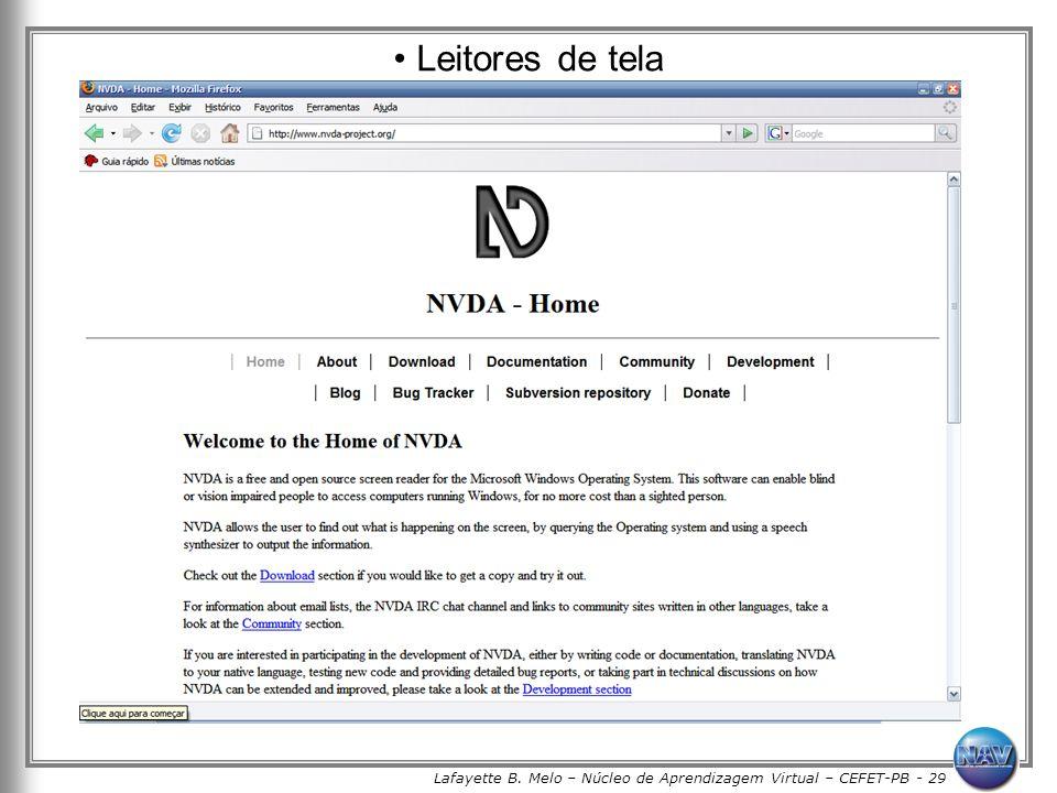 Lafayette B. Melo – Núcleo de Aprendizagem Virtual – CEFET-PB - 29