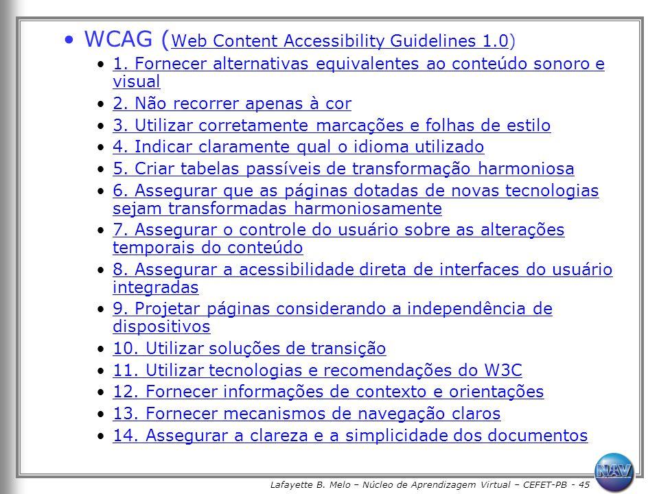 Lafayette B. Melo – Núcleo de Aprendizagem Virtual – CEFET-PB - 45