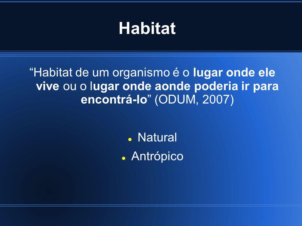 Habitat Habitat de um organismo é o lugar onde ele vive ou o lugar onde aonde poderia ir para encontrá-lo (ODUM, 2007)
