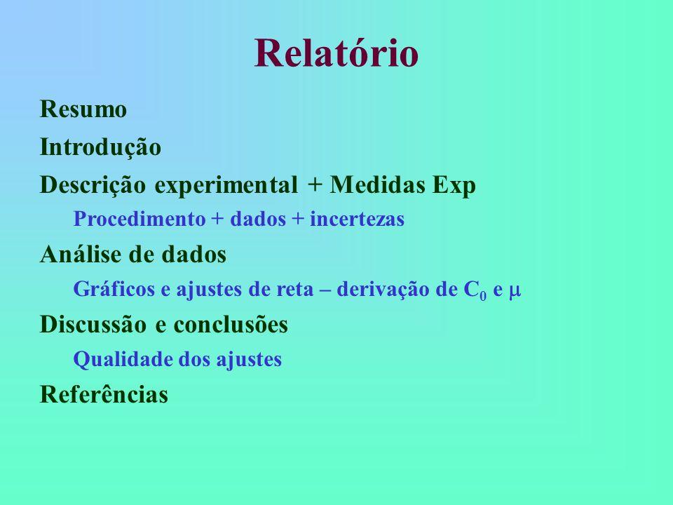 Relatório Resumo Introdução Descrição experimental + Medidas Exp