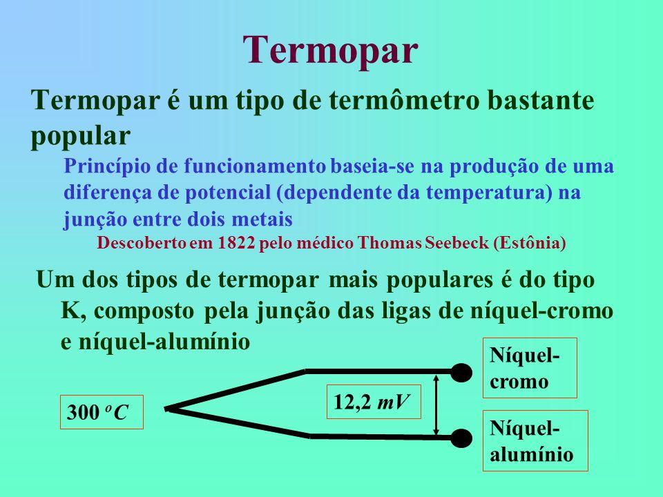 Termopar Termopar é um tipo de termômetro bastante popular