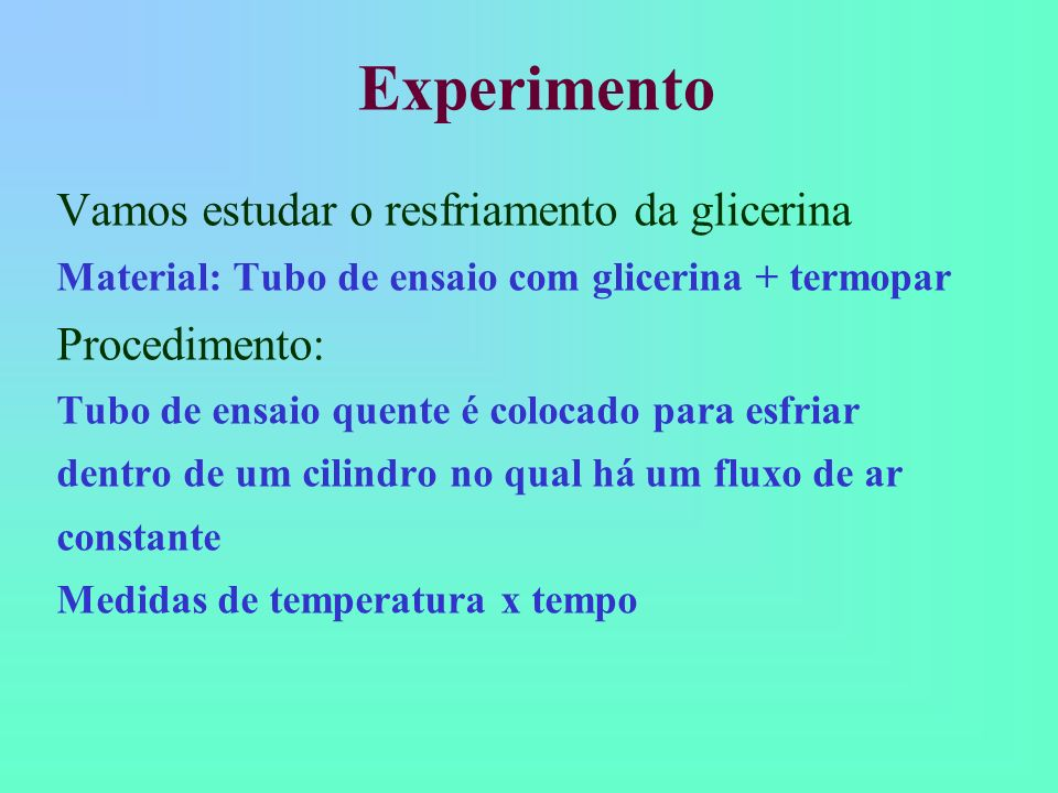 Experimento Vamos estudar o resfriamento da glicerina Procedimento: