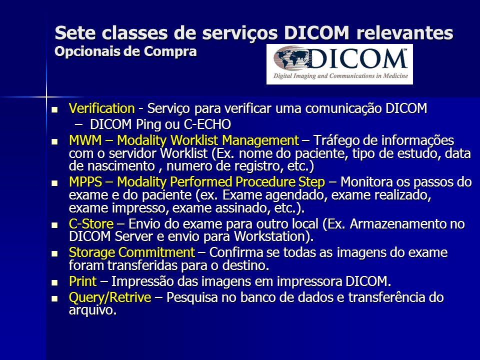 Sete classes de serviços DICOM relevantes Opcionais de Compra