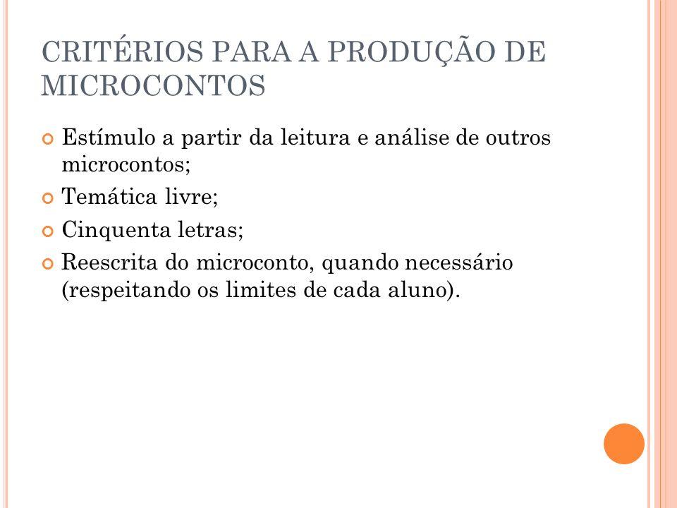 CRITÉRIOS PARA A PRODUÇÃO DE MICROCONTOS