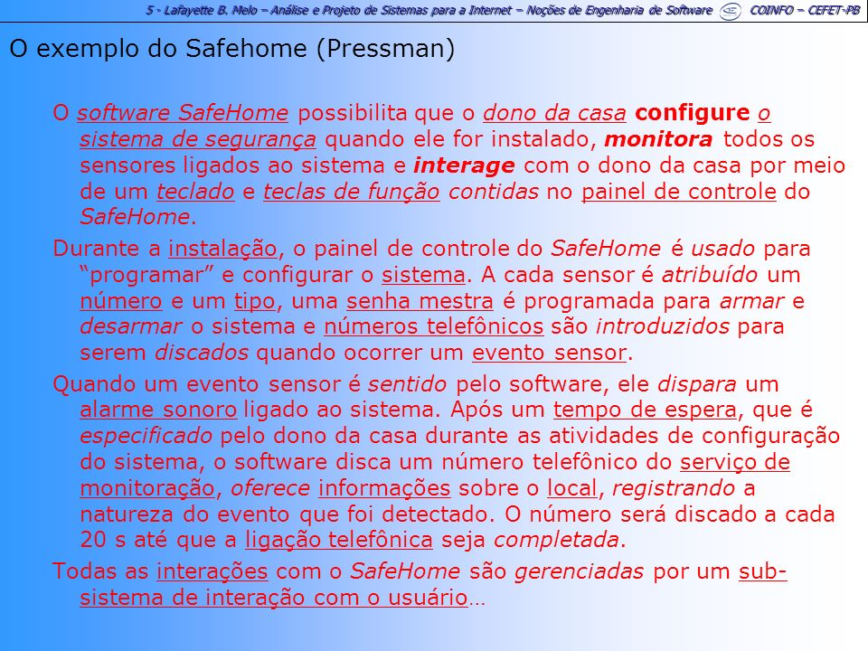 O exemplo do Safehome (Pressman)