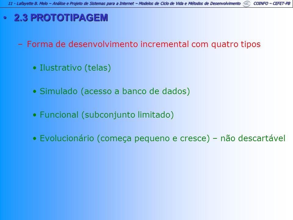 2.3 PROTOTIPAGEM Forma de desenvolvimento incremental com quatro tipos