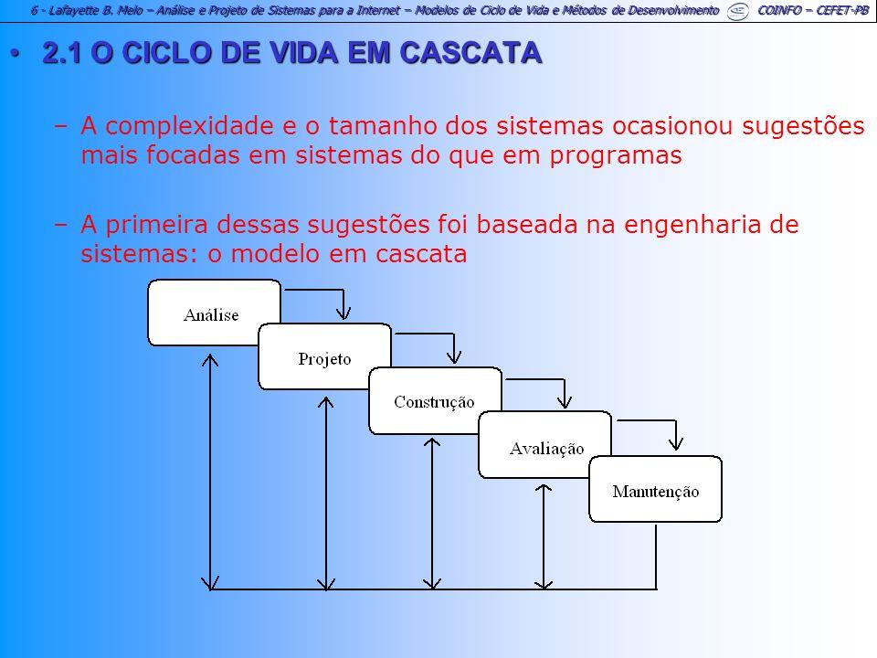 2.1 O CICLO DE VIDA EM CASCATA