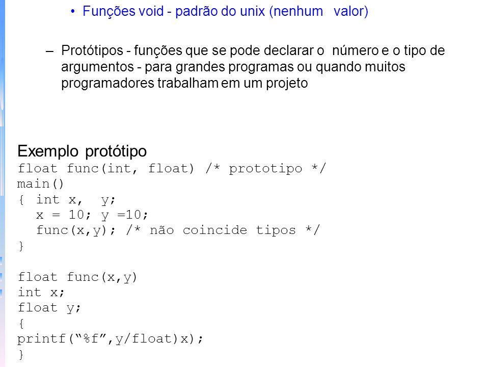 Exemplo protótipo Funções void - padrão do unix (nenhum valor)