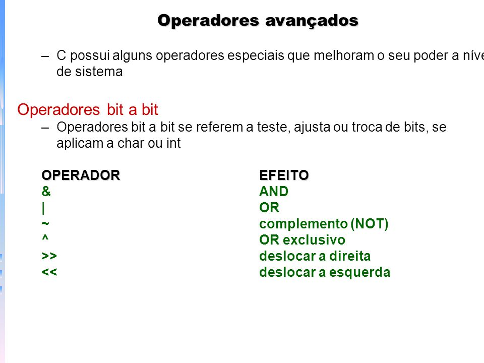 Operadores avançados Operadores bit a bit
