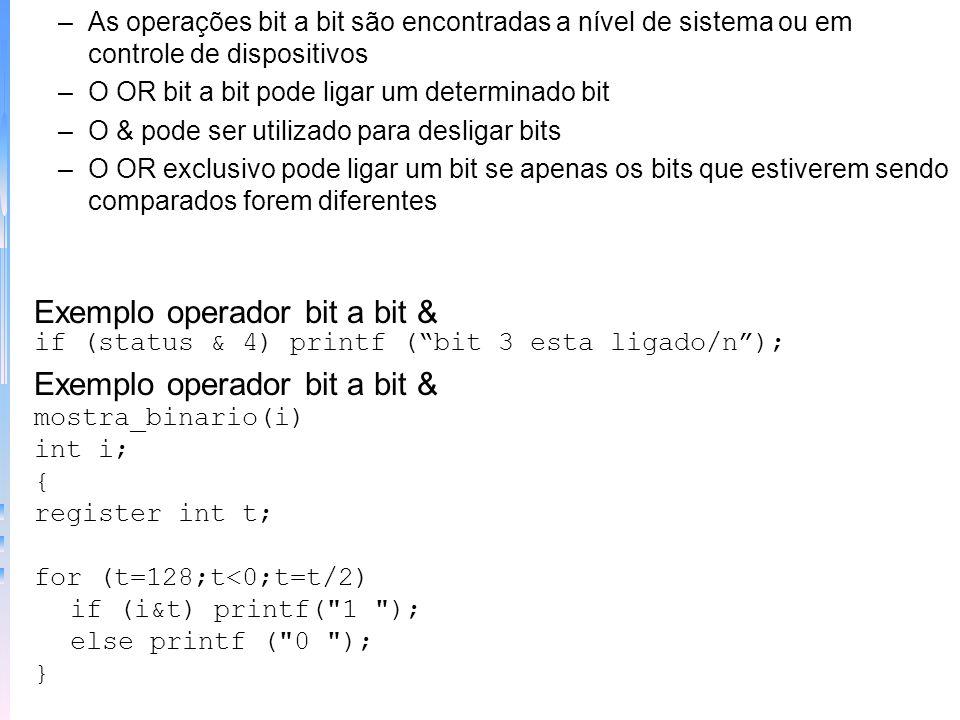 Exemplo operador bit a bit &
