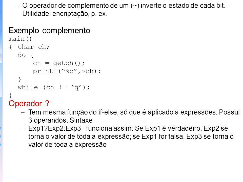 Exemplo complemento Operador