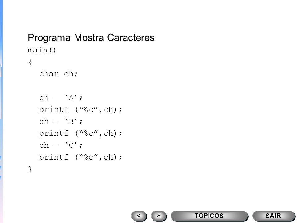 Programa Mostra Caracteres